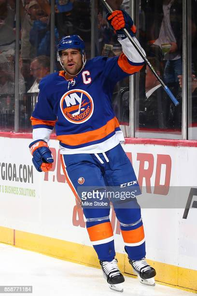 John Tavares of the New York Islanders celebrates his first period goal against the Columbus Blue Jackets at Barclays Center on October 7 2017 in New...