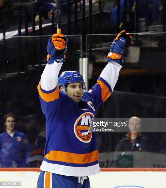 John Tavares of the New York Islanders celebrates his goal at 134 of the second period against the Washington Capitals at the Barclays Center on...