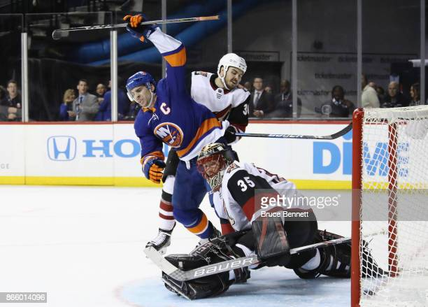 John Tavares of the New York Islanders celebrates his goal at 1425 of the second period against Louis Domingue of the Arizona Coyotes at the Barclays...