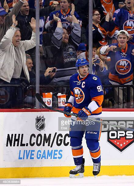 John Tavares of the New York Islanders celebrates his goal in the third period against the Nashville Predators at the Barclays Center on October 15,...