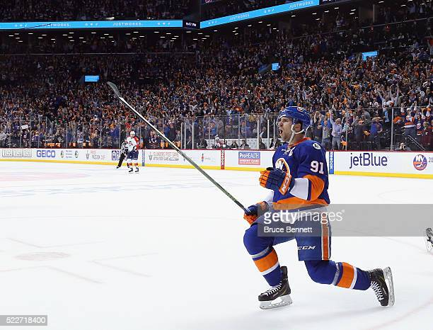 John Tavares of the New York Islanders celebrates his powerplay goal at 1944 of the first period against the Florida Panthers in Game Four of the...