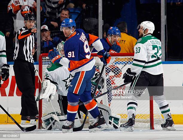 John Tavares of the New York Islanders celebrates his second goal of the game on the powerplay at 6:19 of the third period against the Dallas Stars...
