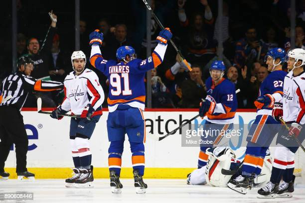 John Tavares of the New York Islanders celebrates his second period goal against Braden Holtby of the Washington Capitals at Barclays Center on...