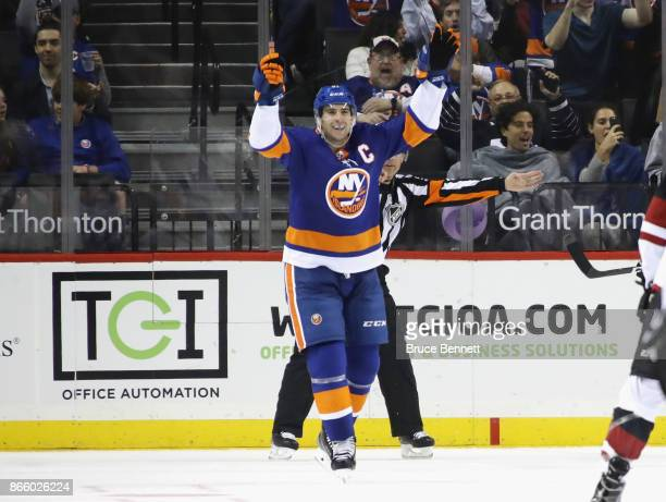 John Tavares of the New York Islanders celebrates his third goal of the game against the Arizona Coyotes at 1241 of the third period at the Barclays...