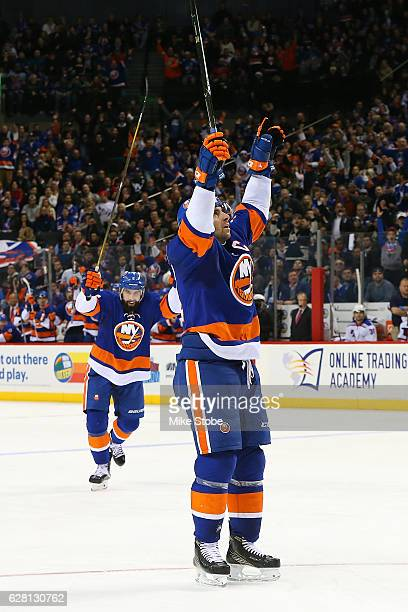 John Tavares of the New York Islanders celebrates his third period power play goal against the New York Rangers at the Barclays Center on December 6...