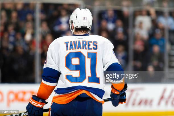 John Tavares of the New York Islanders during an NHL game against the Toronto Maple Leafs in the second period at the Air Canada Centre on February...