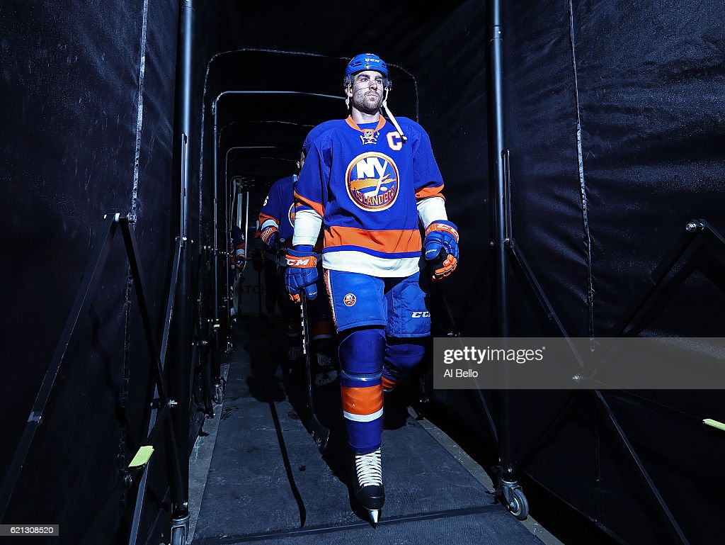 John Tavares #91 of the New York Islanders heads onto the ice before the game against the Edmonton Oilers at the Barclays Center on November 5, 2016 in New York City.