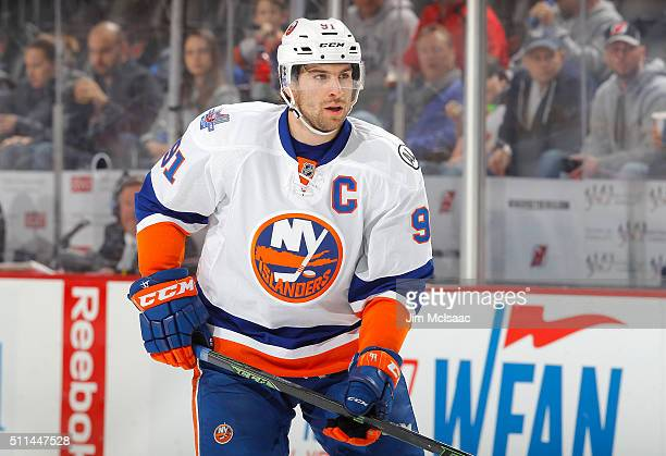 John Tavares of the New York Islanders in action against the New Jersey Devils at the Prudential Center on February 19 2016 in Newark New Jersey The...
