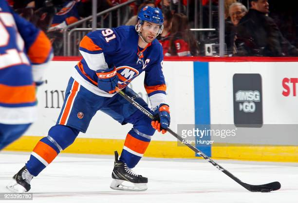 John Tavares of the New York Islanders in action against the New Jersey Devils during the third period at the Prudential Center on February 24 2018...