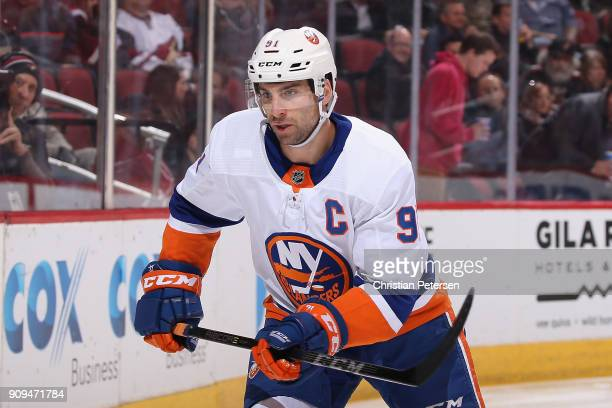 John Tavares of the New York Islanders in action during the NHL game against the Arizona Coyotes at Gila River Arena on January 22 2018 in Glendale...