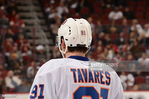 John Tavares of the New York Islanders looks up ice during a stop in play against the Arizona Coyotes at Gila River Arena on January 7 2017 in...