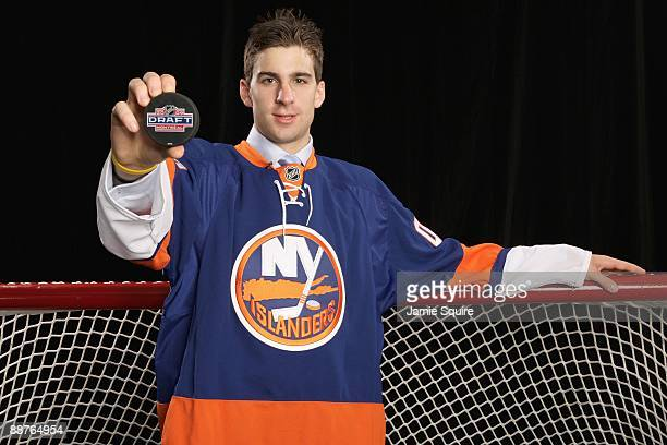 John Tavares of the New York Islanders poses for a photo after being selected overall by the Islanders during the first round of the 2009 NHL Entry...