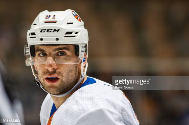 John Tavares of the New York Islanders prepares for a faceoff against the Toronto Maple Leafs during the first period at the Air Canada Centre on...