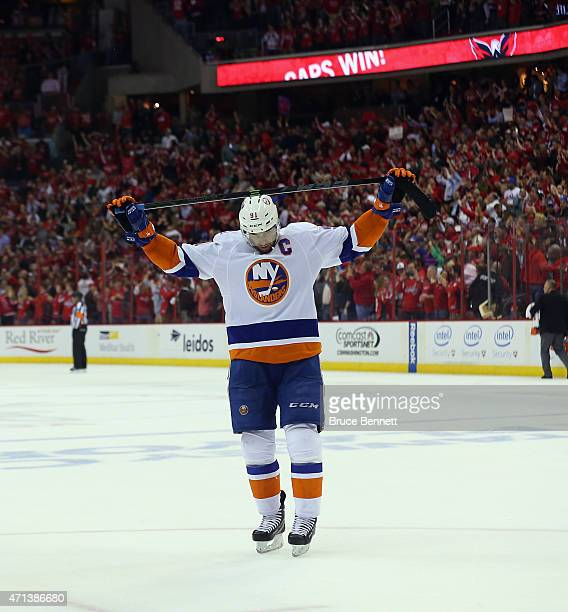 John Tavares of the New York Islanders reacts at the end of a 2-1 loss to the Washington Capitals in Game Seven of the Eastern Conference...