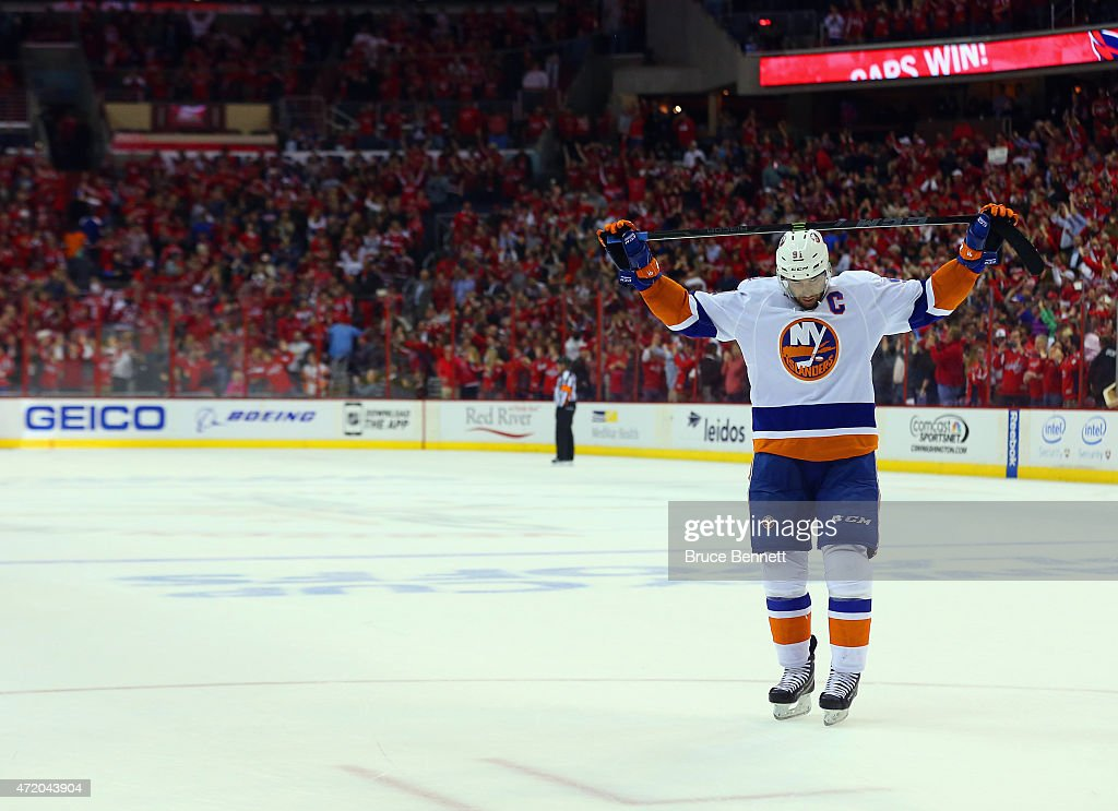 John Tavares #91 of the New York Islanders reacts at the end of a 2-1 loss to the Washington Capitals in Game Seven of the Eastern Conference Quarterfinals during the 2015 NHL Stanley Cup Playoffs at Verizon Center on April 27, 2015 in Washington, DC.