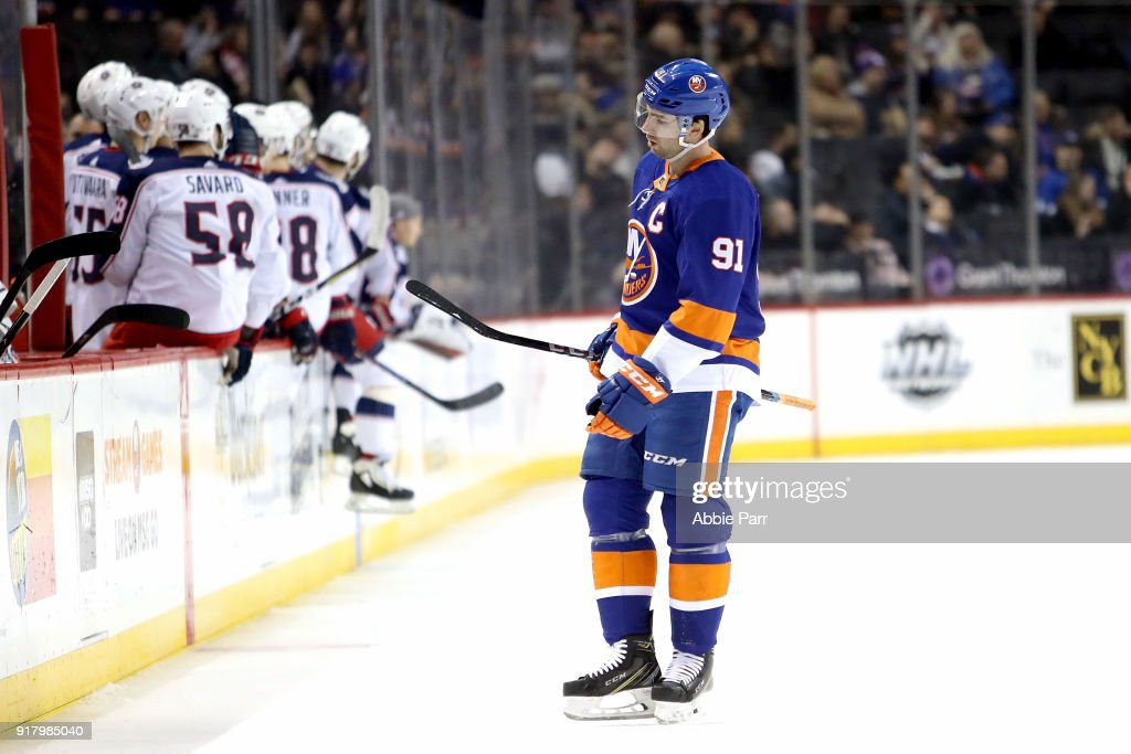 John Tavares #91 of the New York Islanders reacts in the second period against the Columbus Blue Jackets during their game at Barclays Center on February 13, 2018 in the Brooklyn borough of New York City.