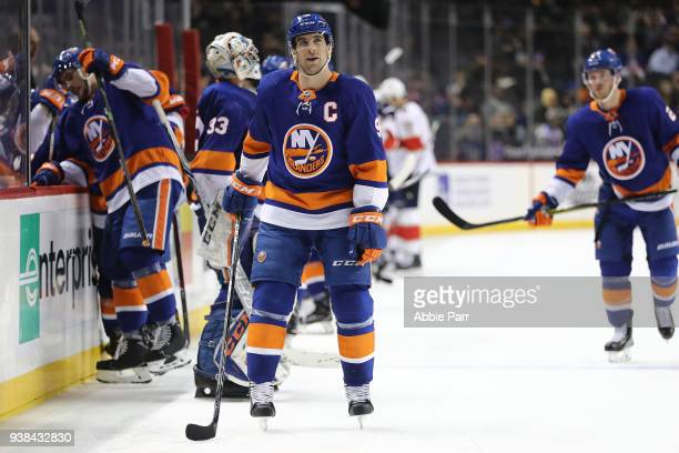 John Tavares of the New York Islanders reacts in the third period against the Florida Panthers during their game at Barclays Center on March 26 2018...