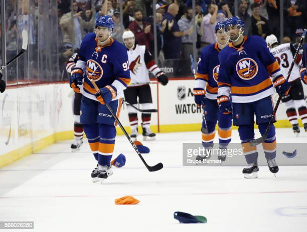 John Tavares of the New York Islanders returns to the bench after scoring a hat trick third goal of the game against the Arizona Coyotes at 1241 of...