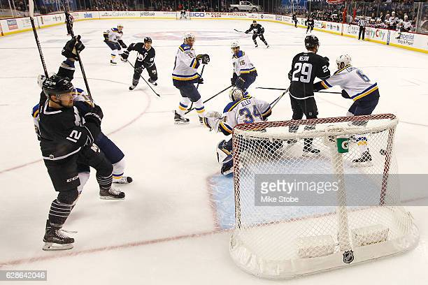 John Tavares of the New York Islanders scores a goal against the St Louis Blues in first period at the Barclays Center on December 8 2016 in Brooklyn...