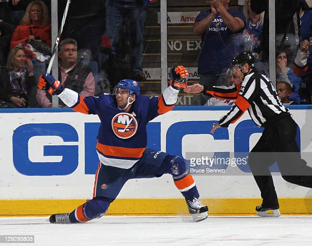 John Tavares of the New York Islanders scores a hat trick at 1852 of the third period against the New York Rangers at the Nassau Veterans Memorial...