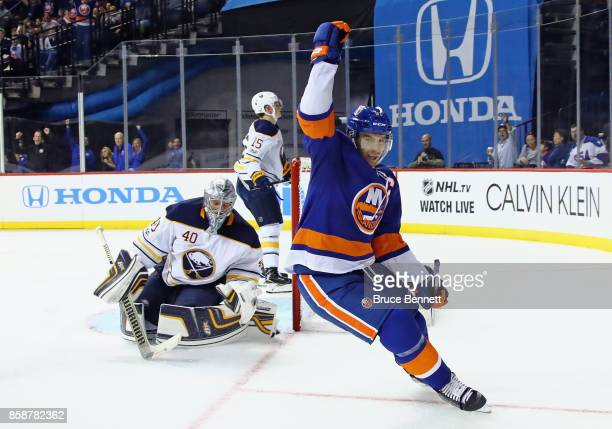 John Tavares of the New York Islanders scores a shorthanded goal at 513 of the second period against the Buffalo Sabres at the Barclays Center on...