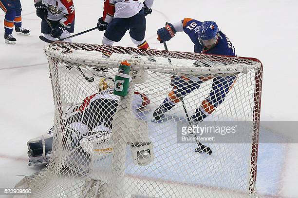 John Tavares of the New York Islanders scores the game tying goal at 1906 of the third period against Roberto Luongo of the Florida Panthers in Game...