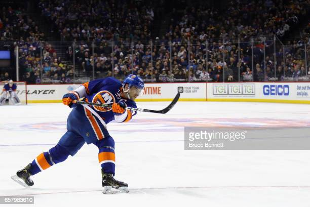 John Tavares of the New York Islanders skates against the Boston Bruins at the Barclays Center on March 25 2017 in the Brooklyn borough of New York...