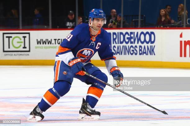 John Tavares of the New York Islanders skates against the Carolina Hurricanesat Barclays Center on March 18 2018 in New York City Carolina Hurricanes...