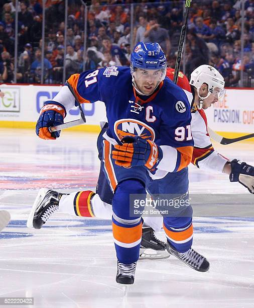 John Tavares of the New York Islanders skates against the Florida Panthers during Game Three of the Eastern Conference Quarterfinals during the 2015...