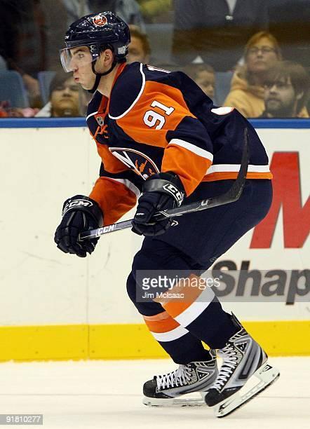 John Tavares of the New York Islanders skates against the Los Angeles Kings on October 12, 2009 at Nassau Coliseum in Uniondale, New York. The Kings...