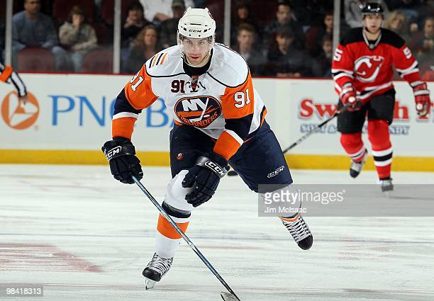 John Tavares of the New York Islanders skates against the New Jersey Devils at the Prudential Center on April 10, 2010 in Newark, New Jersey.