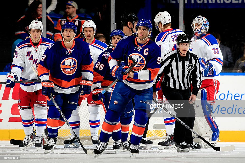 John Tavares #91 of the New York Islanders skates against the New York Rangers during a game at the Nassau Veterans Memorial Coliseum on March 10, 2015 in Uniondale, New York.