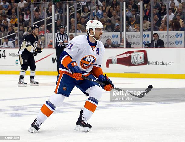 John Tavares of the New York Islanders skates against the Pittsburgh Penguins in Game Five of the Eastern Conference Quarterfinals during the 2013...