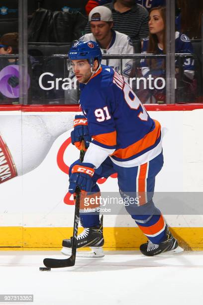John Tavares of the New York Islanders skates against the Tampa Bay Lightning at Barclays Center on March 22 2018 in New York City Tampa Bay...