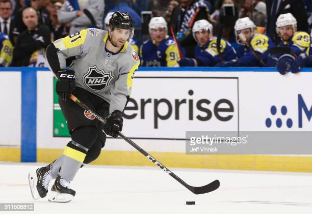 John Tavares of the New York Islanders skates with the puck during the 2018 Honda NHL AllStar Game between the Atlantic Division and the Metropolitan...