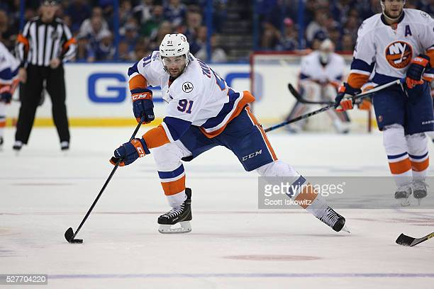 John Tavares of the New York Islanders skates with the puck in Game Two of the Eastern Conference Second Round during the 2016 NHL Stanley Cup...