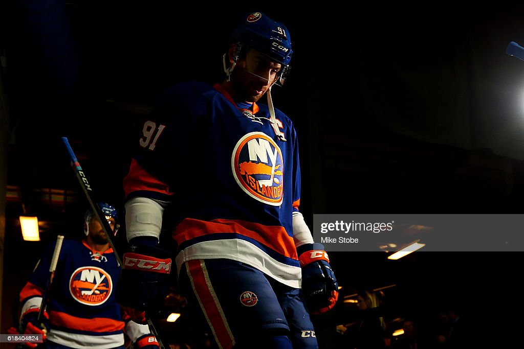 John Tavares #91 of the New York Islanders walks to the ice for warm-ups prior to the game against the Montreal Canadiens at the Barclays Center on October 26, 2016 in Brooklyn borough of New York City.