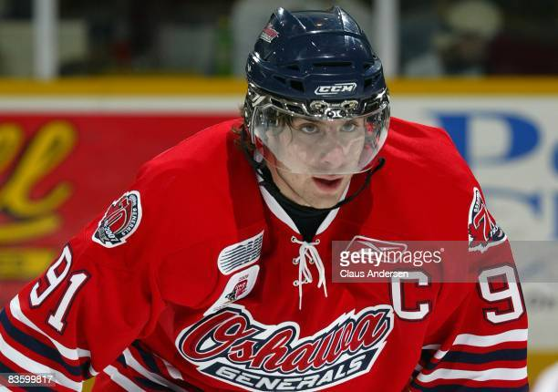 John Tavares of the Oshawa Generals gets set for a faceoff in a game against the Peterborough Petes on November 6 2008 at the Peterborough Memorial...