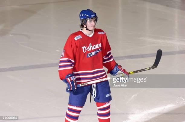 John Tavares of the Oshawa Generals looks on during the OHL game against the Toronto St Michael's Majors at St Michael's College School Arena March 9...