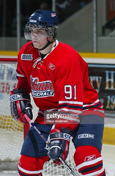 John Tavares of the Oshawa Generals skates against the Peterborough Petes at the Memorial Centre on March 10 2007 in Peterborough Ontario Canada