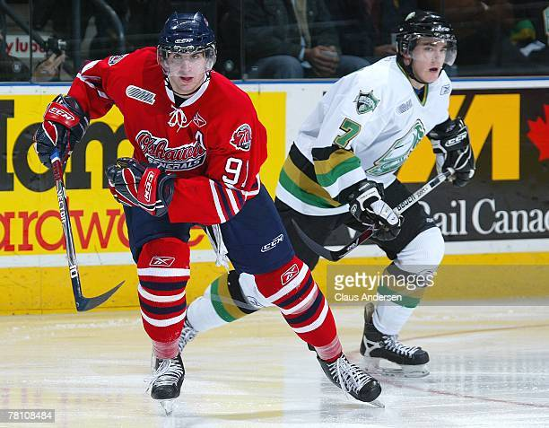 John Tavares of the Oshawa Generals skates back up ice in a game against the London Knights on November 23, 2007 at the John Labatt Centre in London,...