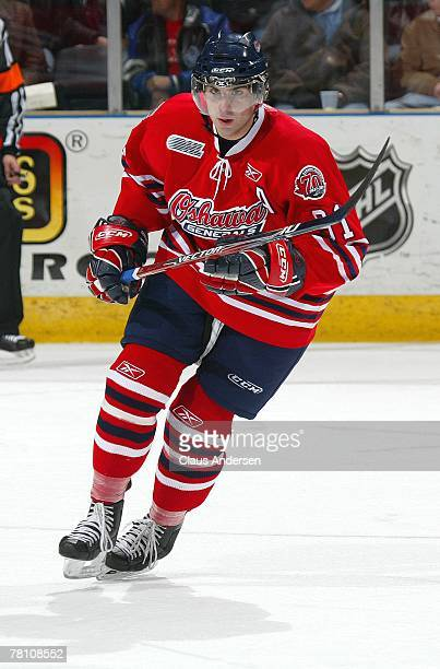 John Tavares of the Oshawa Generals skates in a game against the London Knights on November 23, 2007 at the John Labatt Centre in London, Ontario.The...