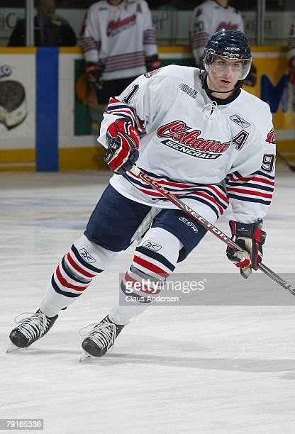 John Tavares of the Oshawa Generals skates in a game against the Peterborough Petes on January 19 2008 at the Peterborough Memorial Centre in...