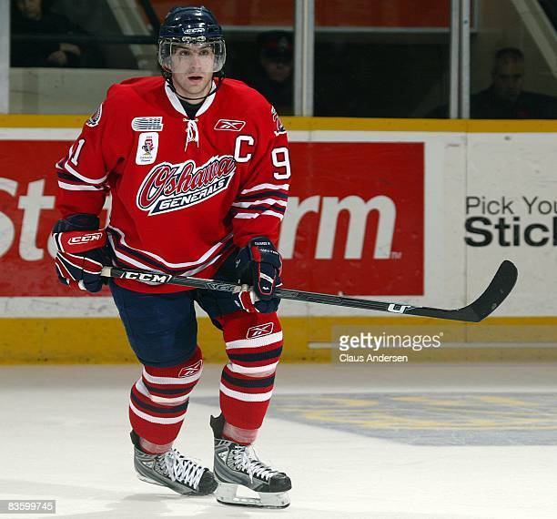 John Tavares of the Oshawa Generals skates in a game against the Peterborough Petes on November 6 2008 at the Peterborough Memorial Centre in...