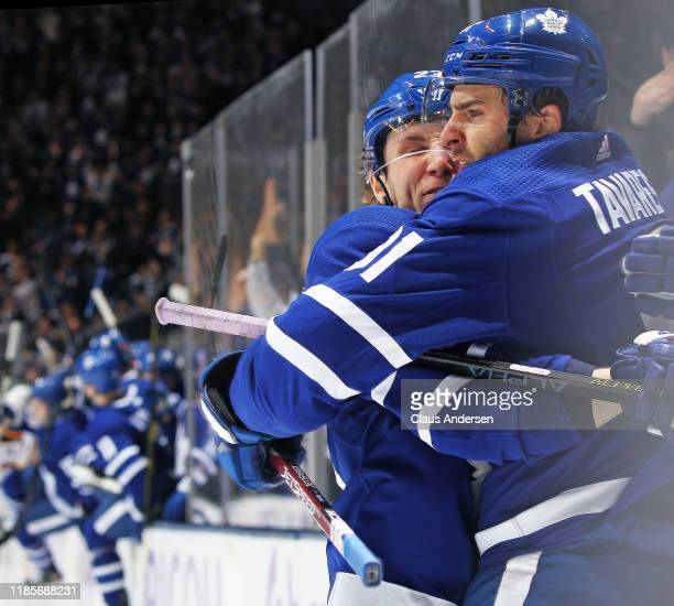 John Tavares of the Toronto Maple Leafs celebrates the game winning goal in overtime against the Buffalo Sabres during an NHL game at Scotiabank...