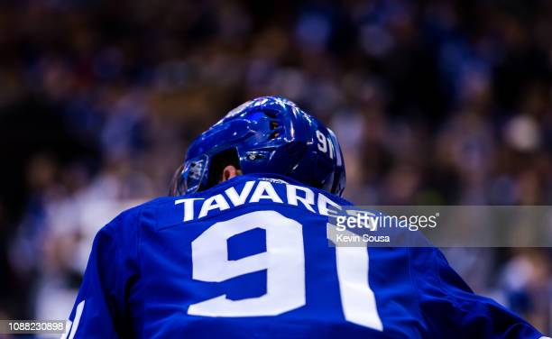 John Tavares of the Toronto Maple Leafs during warm up before a game against the New York Islanders during the first period at the Scotiabank Arena...