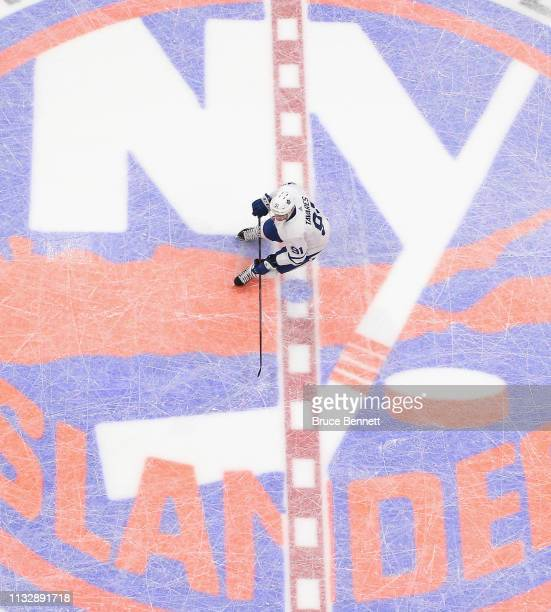 John Tavares of the Toronto Maple Leafs skates against the New York Islanders at NYCB Live's Nassau Coliseum on February 28 2019 in Uniondale City...