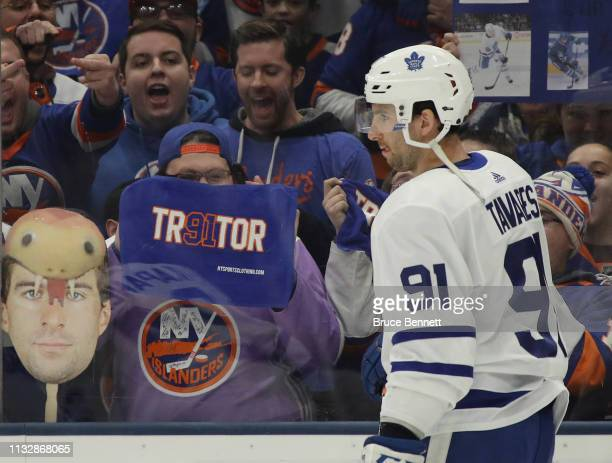 John Tavares of the Toronto Maple Leafs skates in warmups prior to the game against the New York Islanders at NYCB Live's Nassau Coliseum on February...