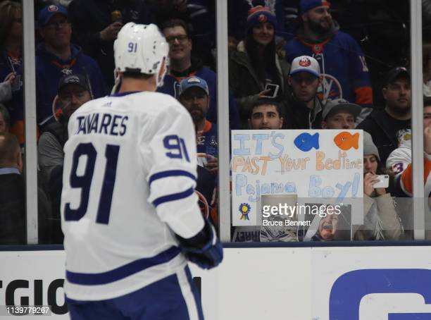 John Tavares of the Toronto Maple Leafs skates in warmups prior to the game against the New York Islanders at NYCB Live's Nassau Coliseum on April 01...