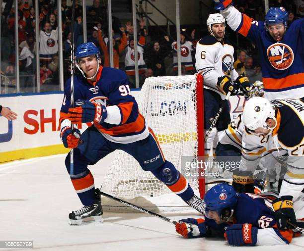 John Tavares skates away from the goalmouth after scoring the natural hat trick in the second period against the Buffalo Sabres at the Nassau...
